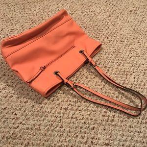 Nicole Miller orange tote bag purse